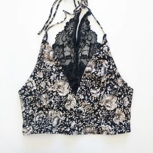 Free People Cropped Bralette Floral Lace